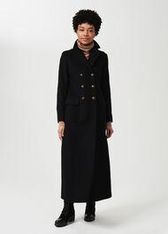Bianca Wool Blend Military Coat, Black, hi-res