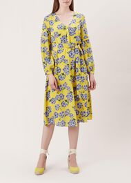 Cara Silk Dress, Yellow Blue, hi-res