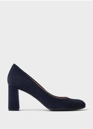 Sonia Suede Block Heel Court Shoes, Navy, hi-res