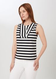 Perrie Cotton Blend Stripe Top, Navy White, hi-res