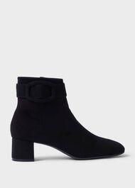 Hailey Suede Block Heel Ankle Boots, Black, hi-res