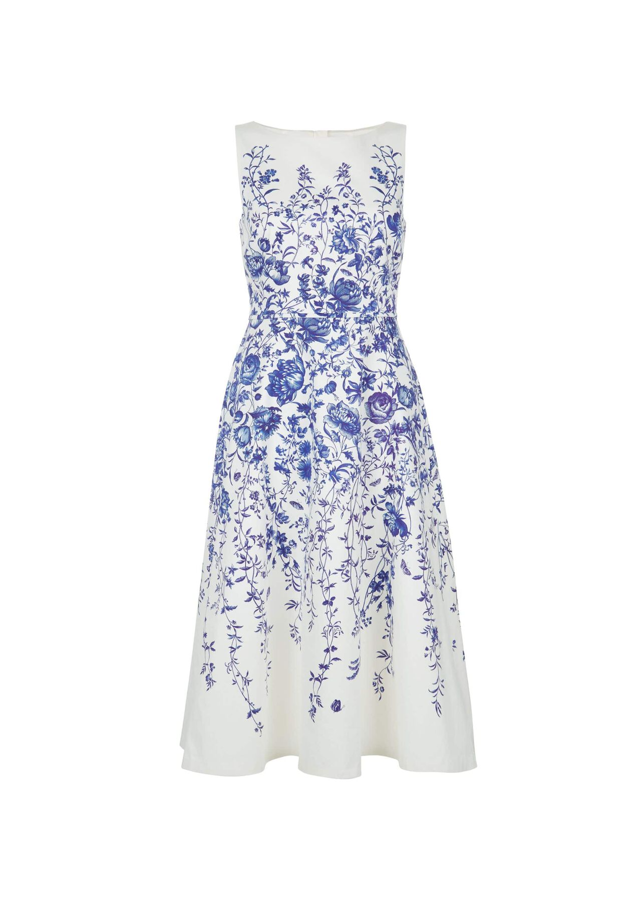 Evelyn Dress Ivory Blue