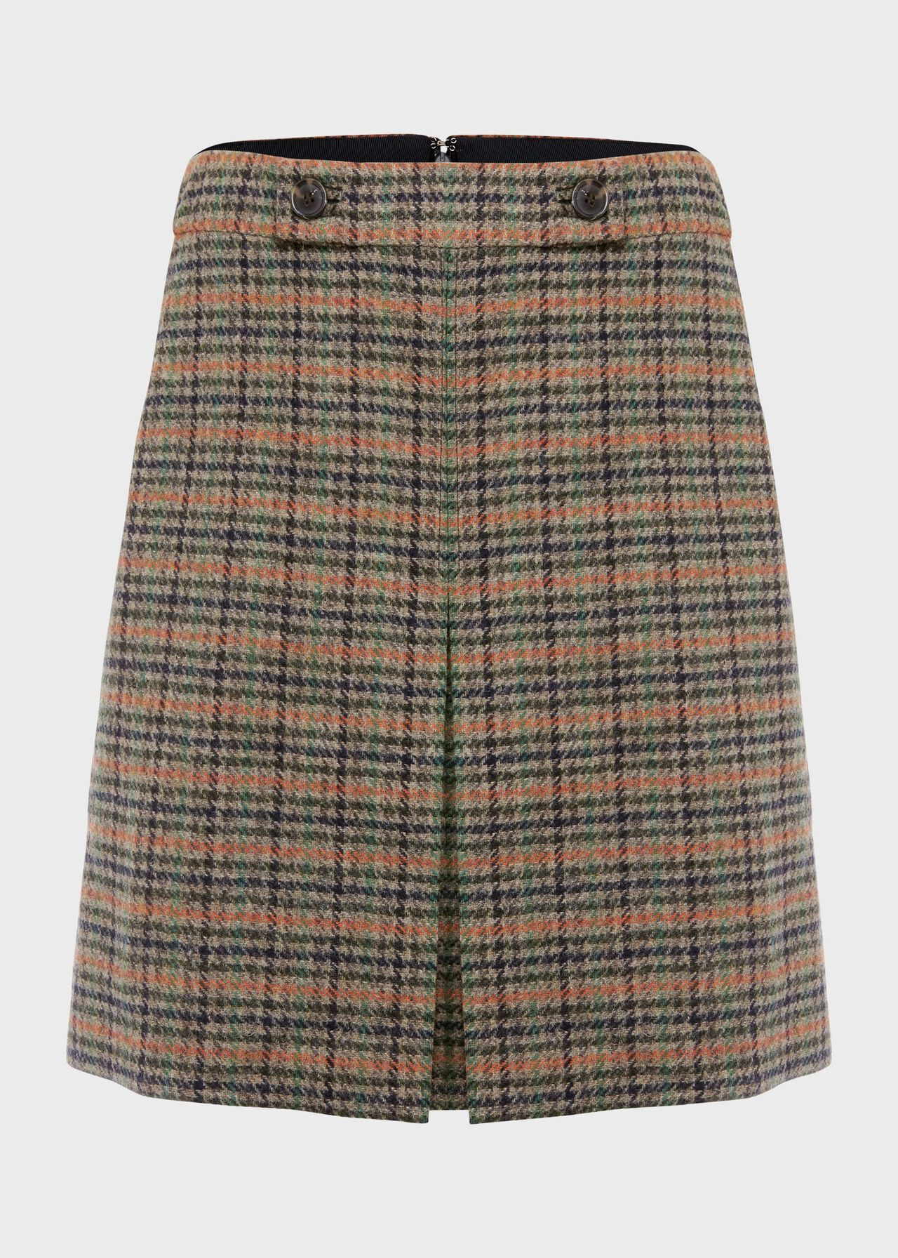 Genevieve Wool Check A Line Skirt Camel Multi