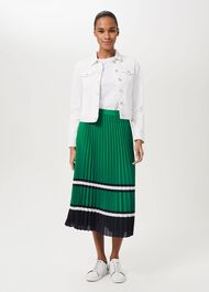 Bess Pleated Midi Skirt, Green Multi, hi-res