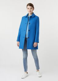 Fia Wool Blend Coat, Agean Blue, hi-res
