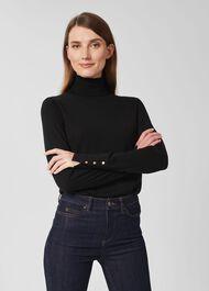Lara Merino Wool Roll Neck Jumper, Black, hi-res