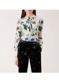 Passionflower Silk Blouse, Oyster, hi-res