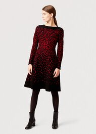 Jodie Knitted Dress, Black Red, hi-res