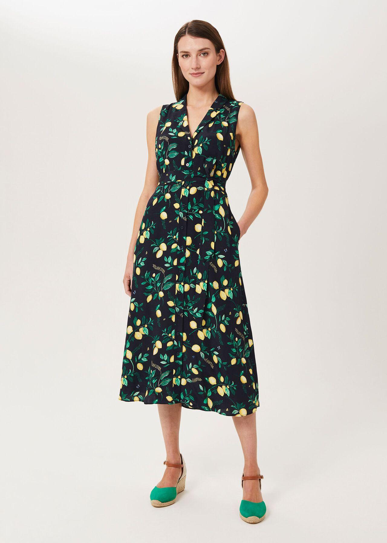 Carina Printed Midi Dress, Navy Multi, hi-res