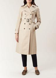 Long Karla Trench Coat, Clay, hi-res