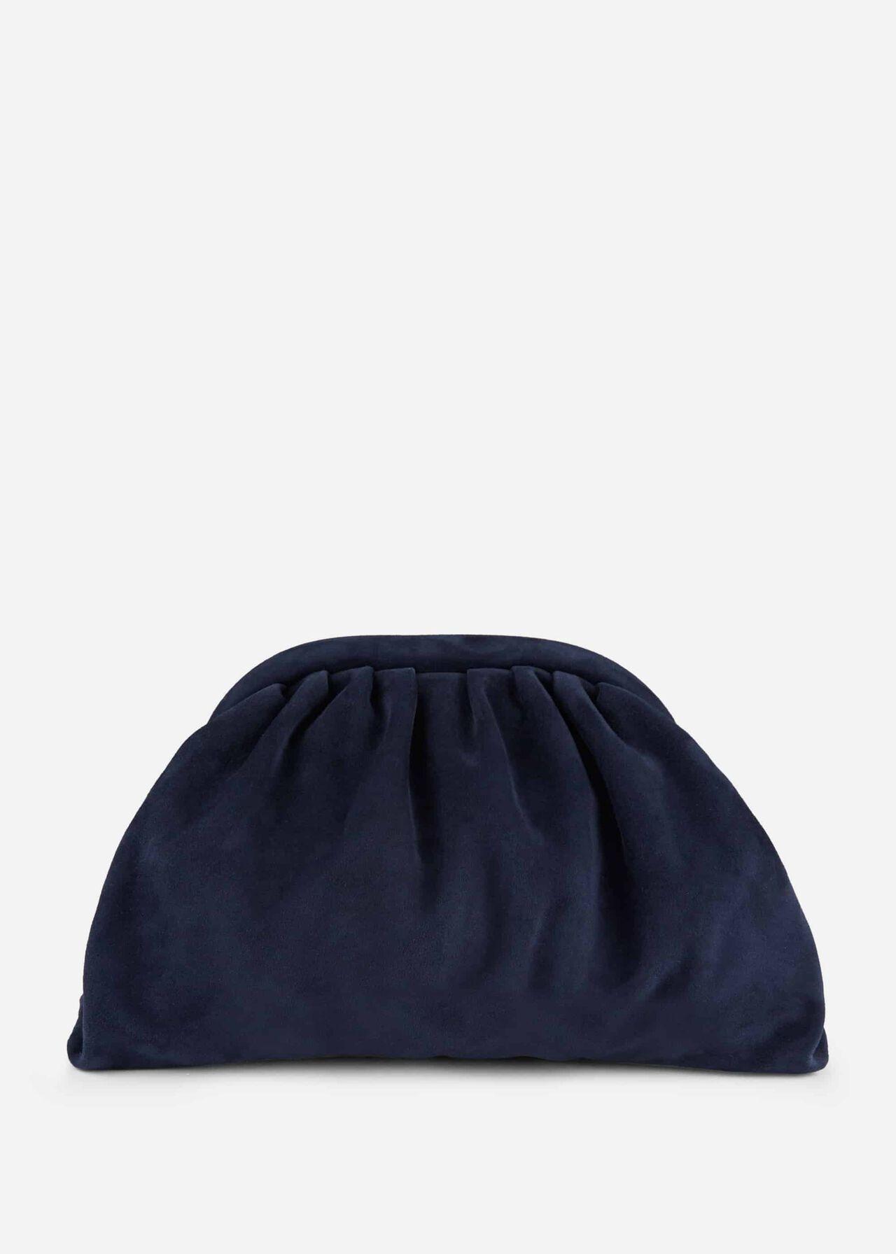 Iona Suede Clutch Bag Navy