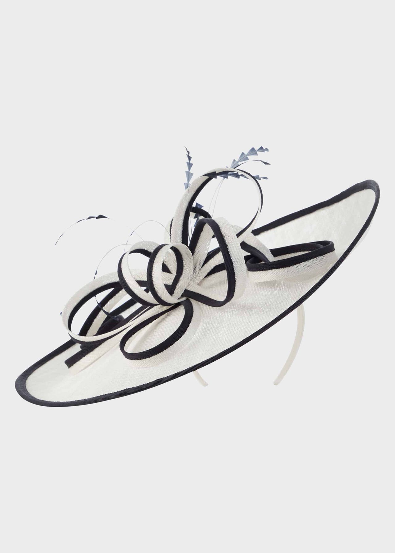 Charlotte Fascinator Ivory Navy