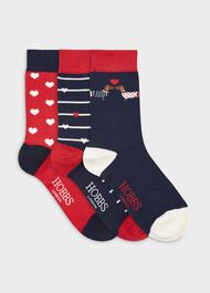 Valentine Dog Sock Set, Navy Red, hi-res