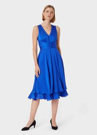 Viola V Neck Dress, Cobalt, hi-res