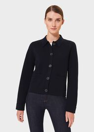 Mia Knitted Jacket With Wool, Navy, hi-res
