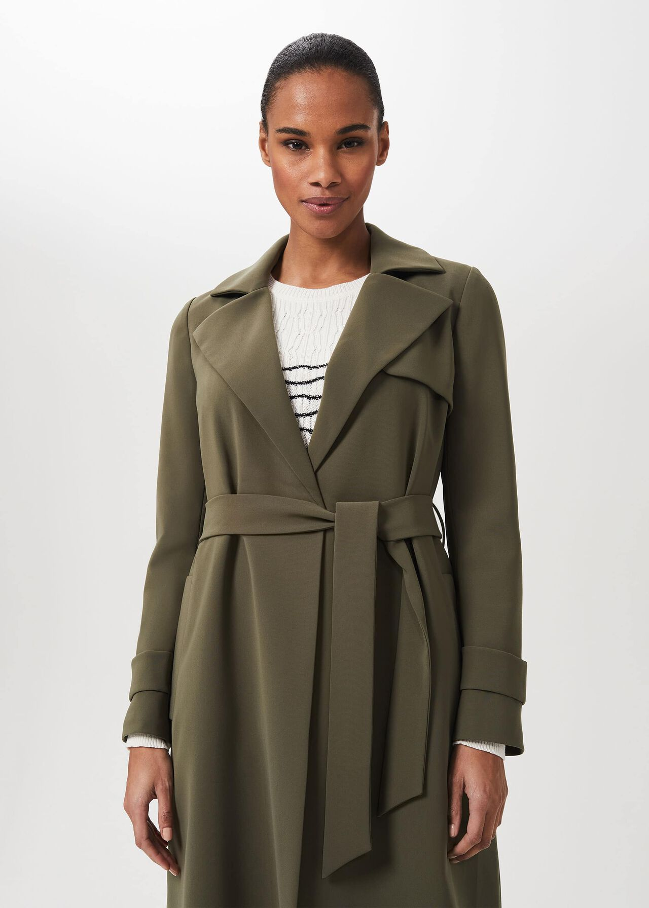 Serena Wrap Coat, Dark Olive, hi-res