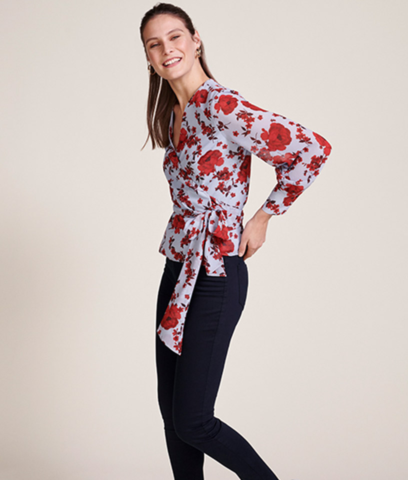 Light Blue Wrap Blouse with Red FLoral Print