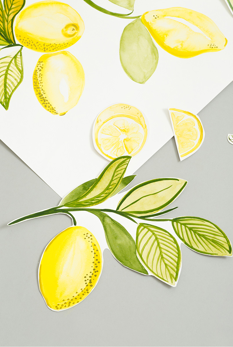 Photograph showing the hand-painted designs of Hobbs exclusive lemon print.