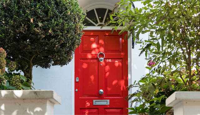 Hobbs at home with a class red london front door.