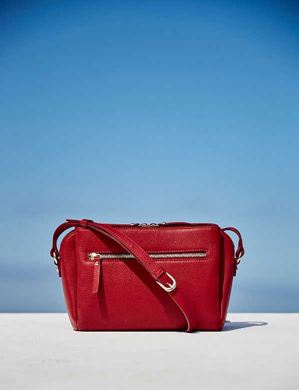 Red satchel bag