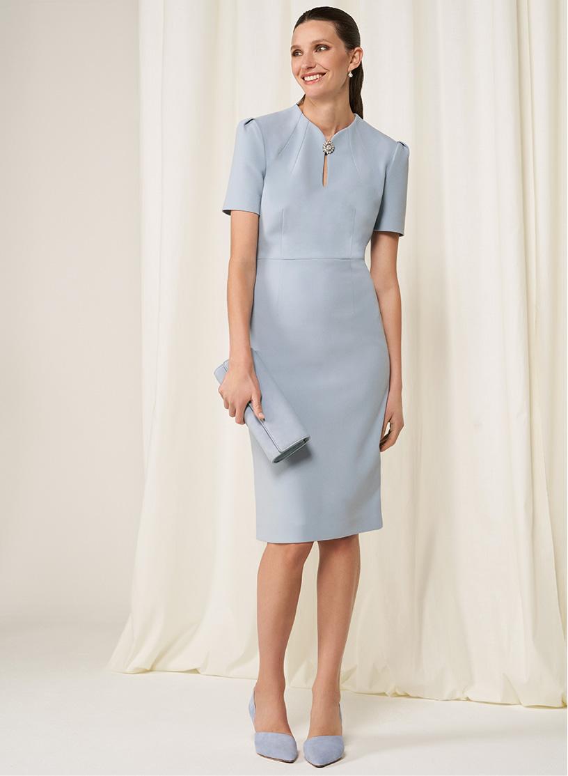 Hobbs Wedding Collection Light Blue Silk and Wool Dress