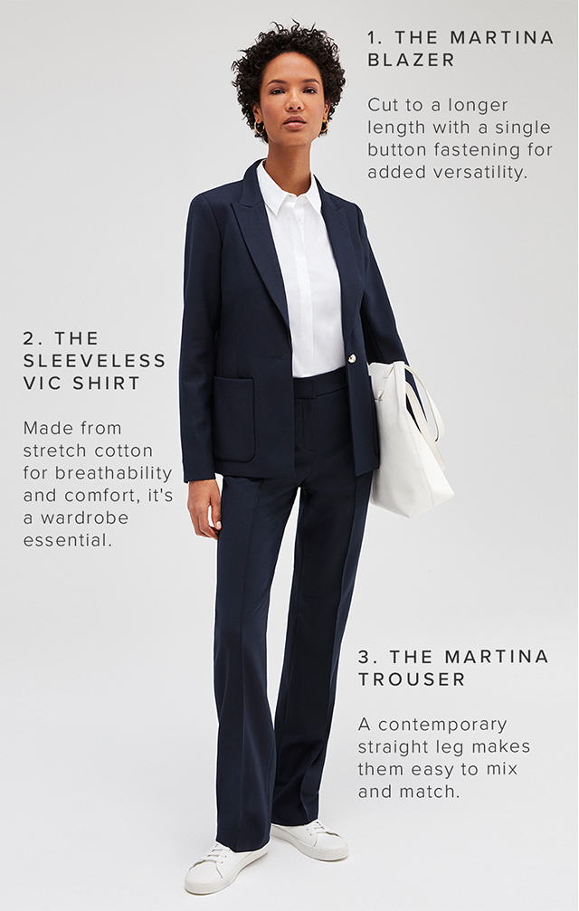Model poses with a breakdown of Hobbs martina tailored trouser suit and how it has been designed to fit and flatter in any combination