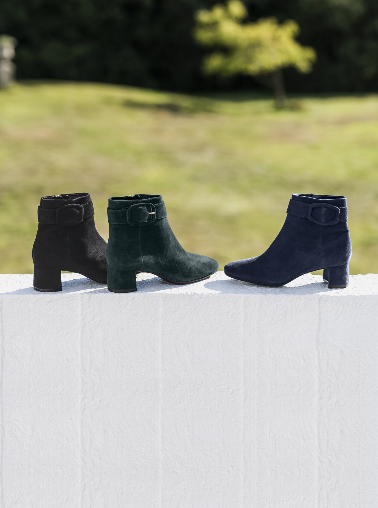 Women's ankle boots from Hobbs, from left to right: Black, green and blue.