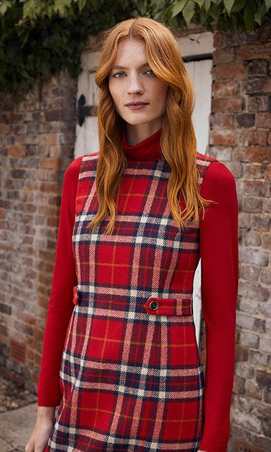 Red Checked Abraham Moon Wool Dress