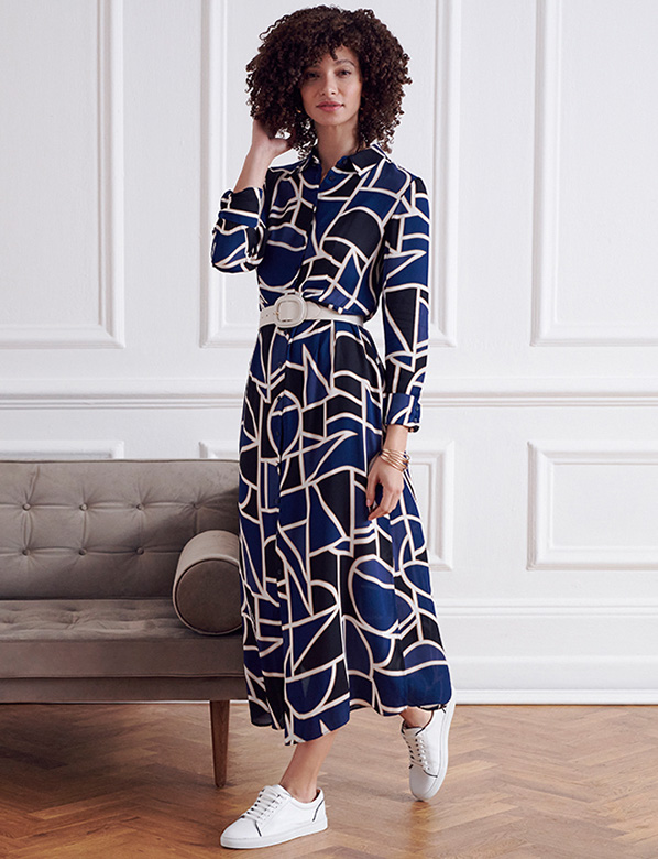 Petite Geometric Print Blue Midi Shirt Dress