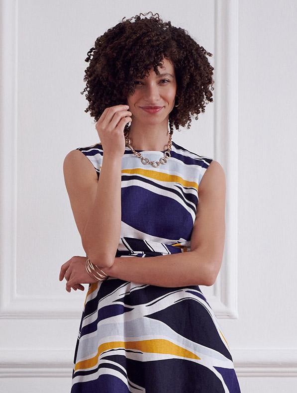 Wave Print Linen Dress