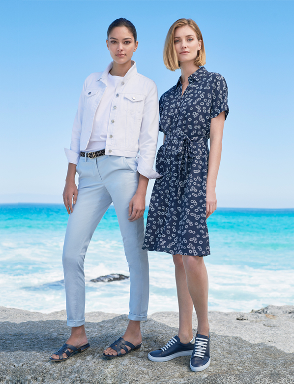 White Denim jacket on Light Blue Chinos and Navy Summer Dress with White Floral Print