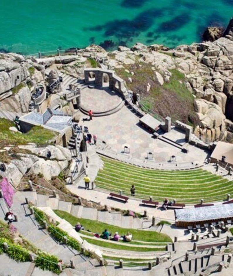 carved out of the cliffs, the unique ampithere of Penzance's Minack Theatre