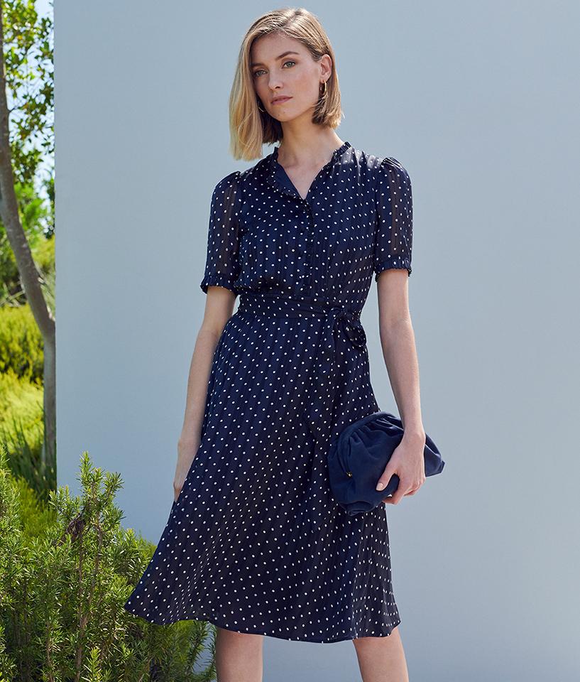 Black Polka Dot New Midi Dress
