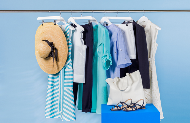 A rail of summer clothing ready for styling.