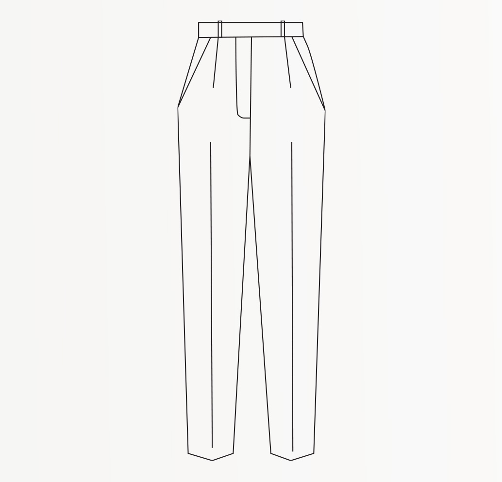 Drawing of tapered Fit Women's Trousers.
