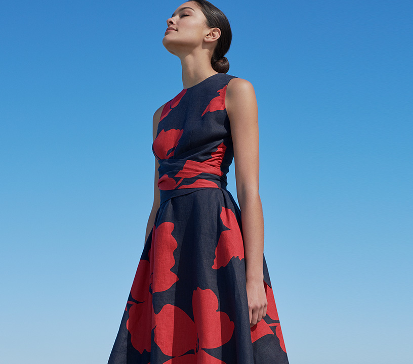 Black and Red Floral Linen Dress