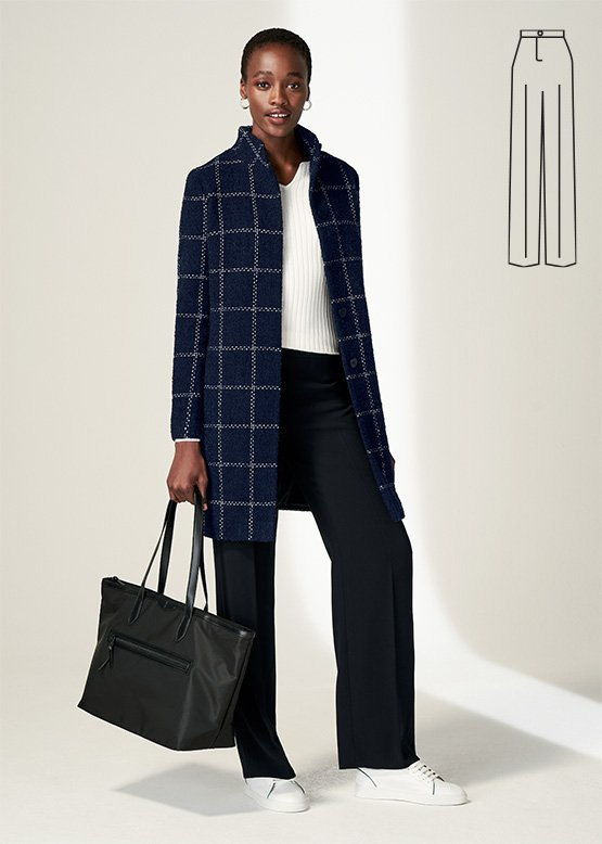 Model wears Hobbs Lisa windowpane coat with XXXX straight leg trousers.
