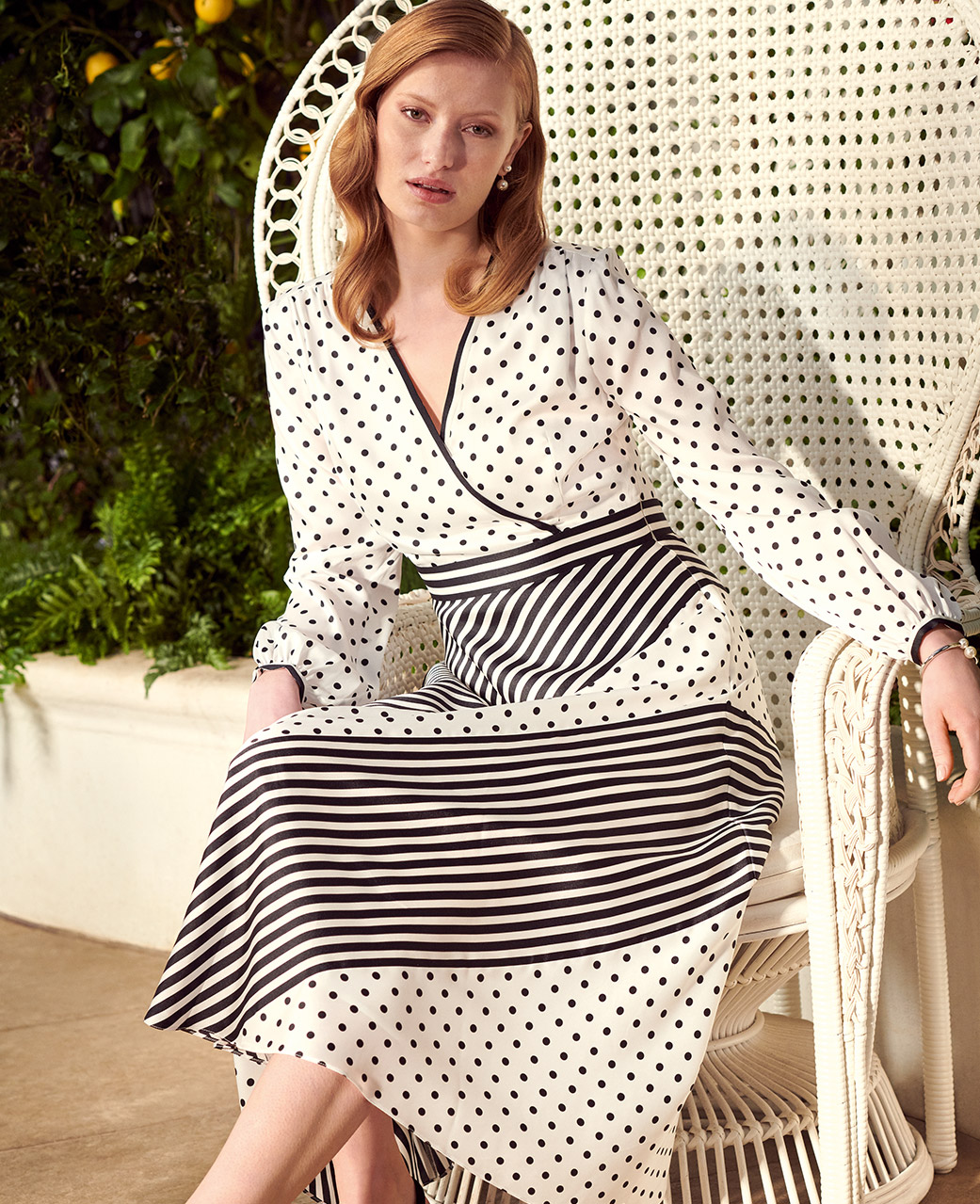 Ivory and Black Occasion Dess with Stripes and Spots Print