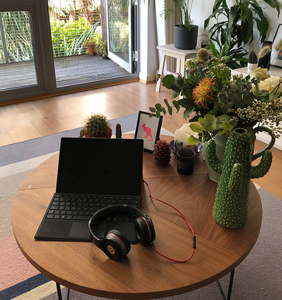 Algy's home office set up surronded by plants.