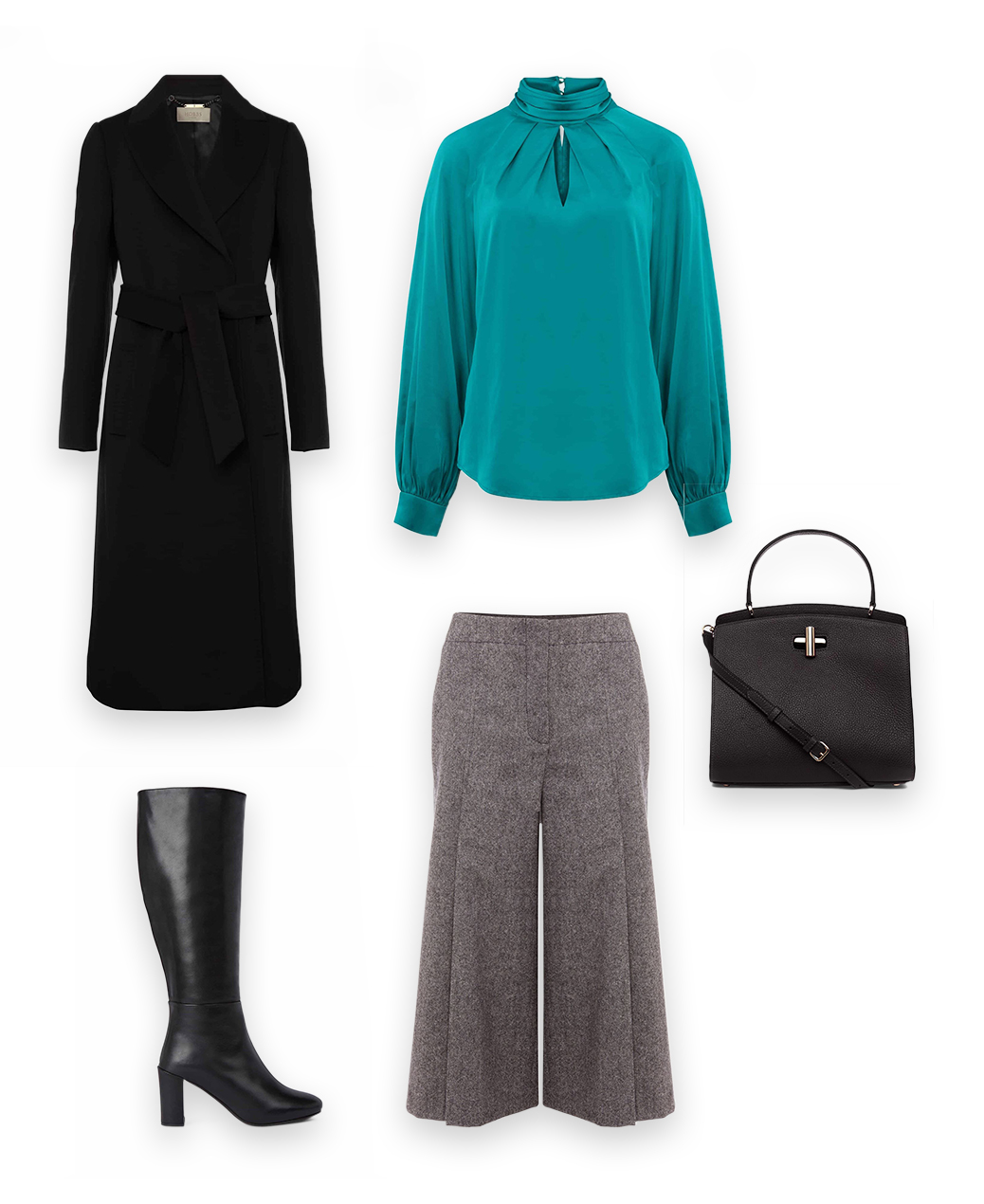 Collage of a green satin blouse, black coat, grey culottes, black long boots and a black bag that together create an outfit.