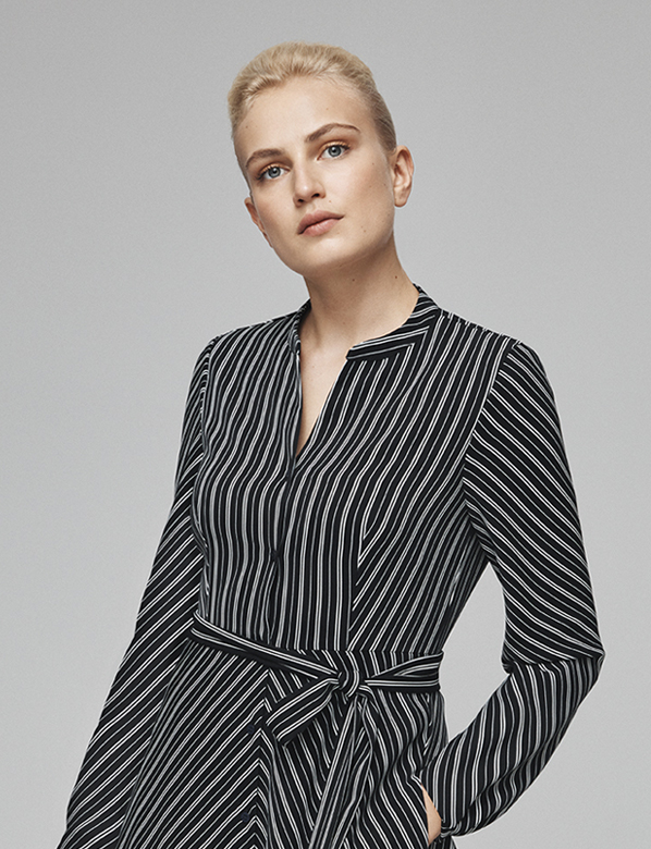 New Striped Monochrome Shirt Dress
