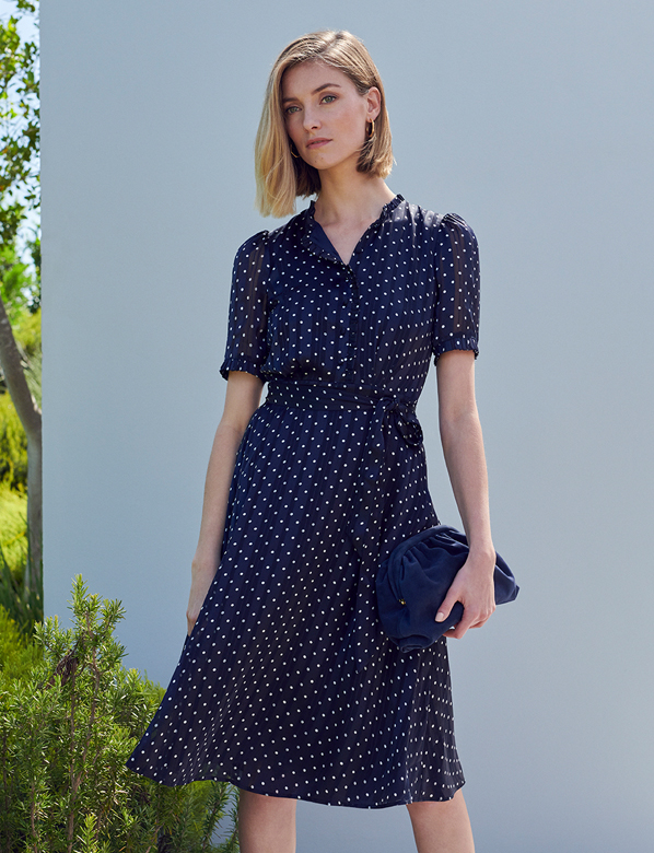 Navy Spotted Dress