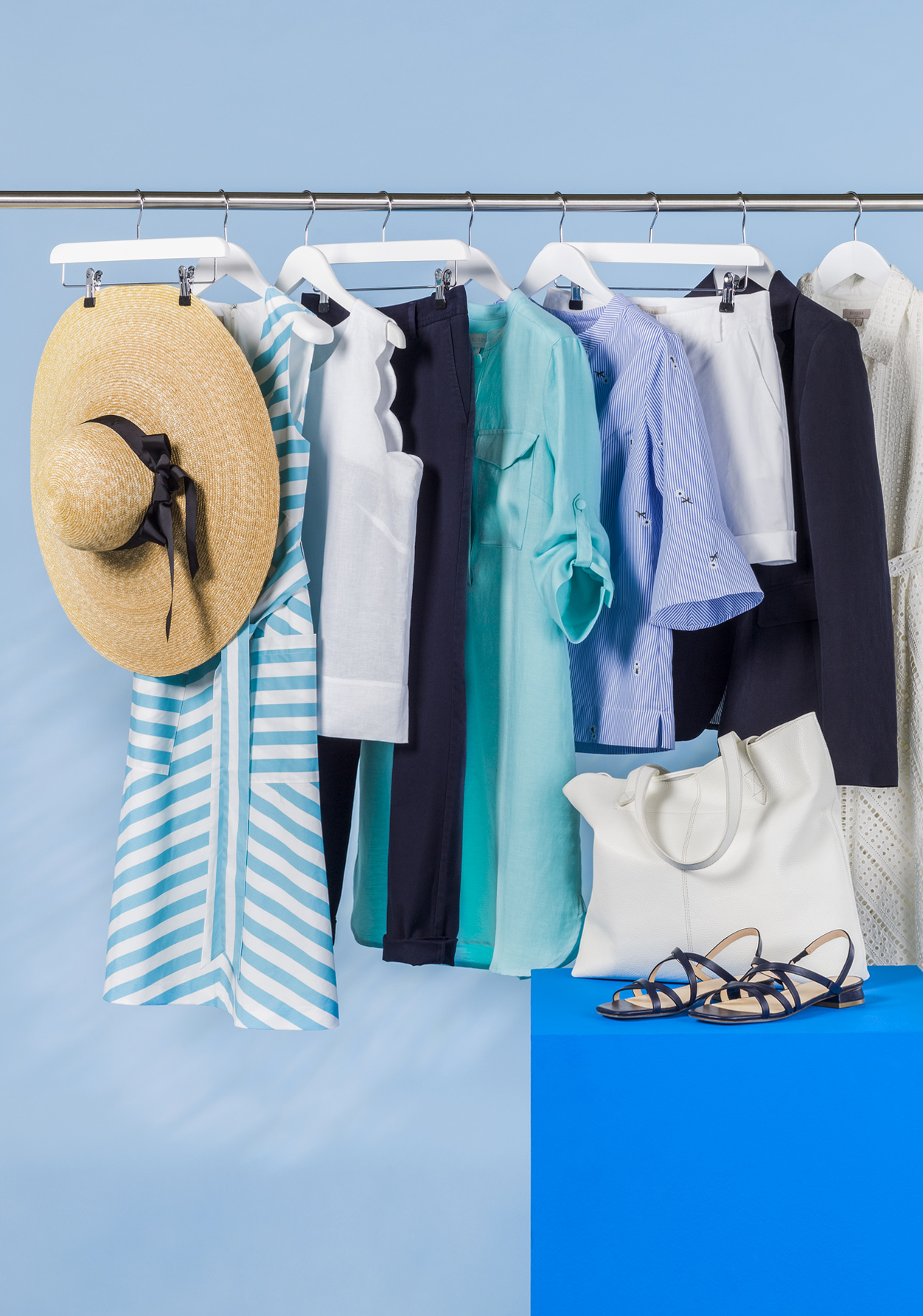How to reorganised your wardrobe featuring a rail of summer appropriate pieces for styling