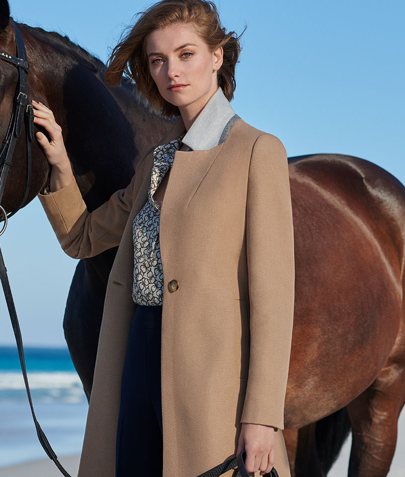 Camel Work Coat and Horse