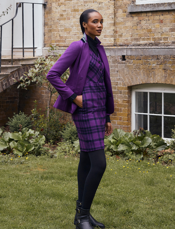 Hobbs Purple Checked Wool Dress Outfit