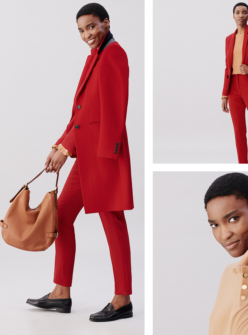 Model wears a bright red tilda wool coat, red tailored trousers, black leather loafers with a brown leather bag