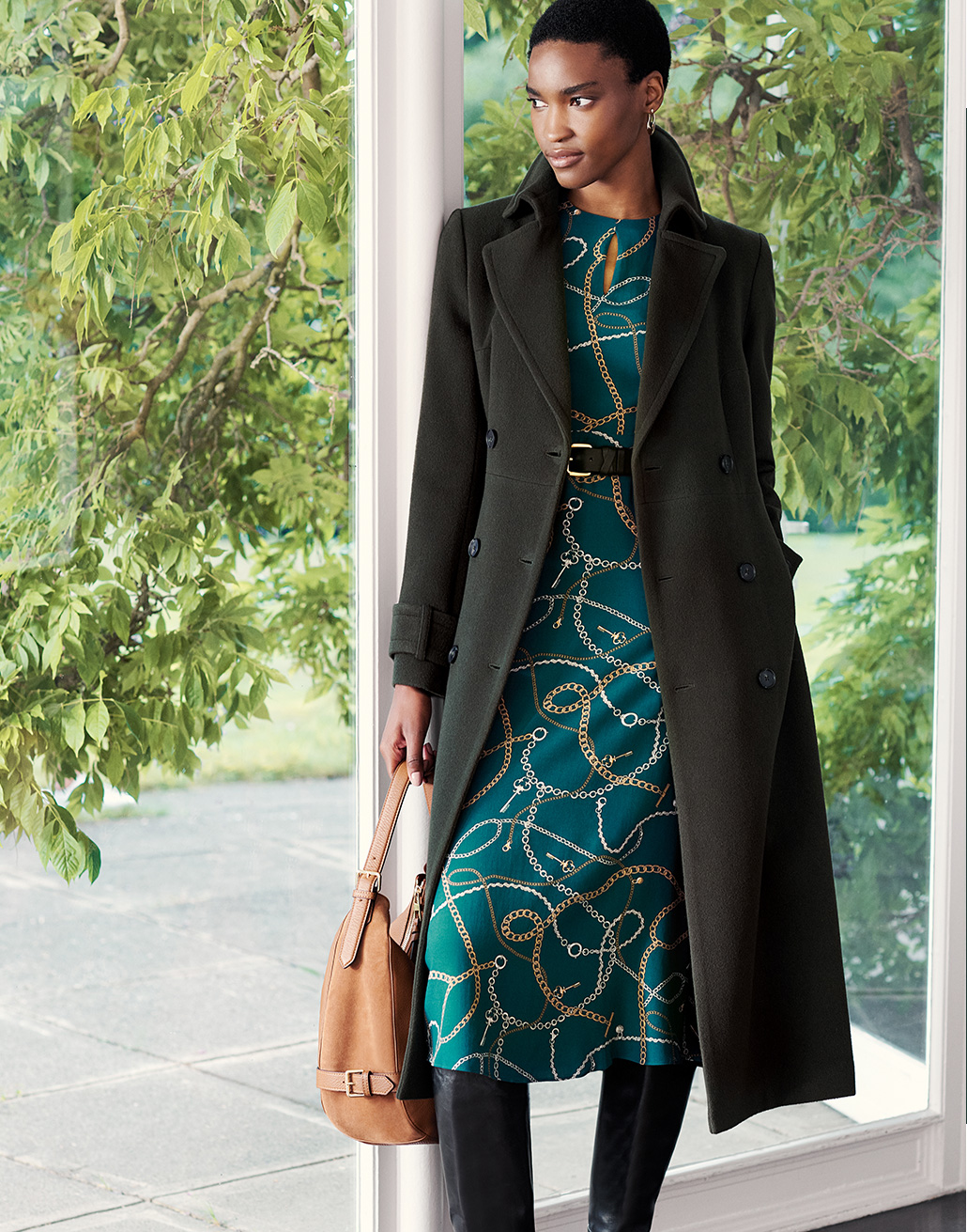 Dark Green Wool Cashmere Coat