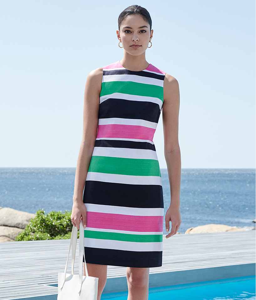 Pool side, white, pink and green striped summer dress