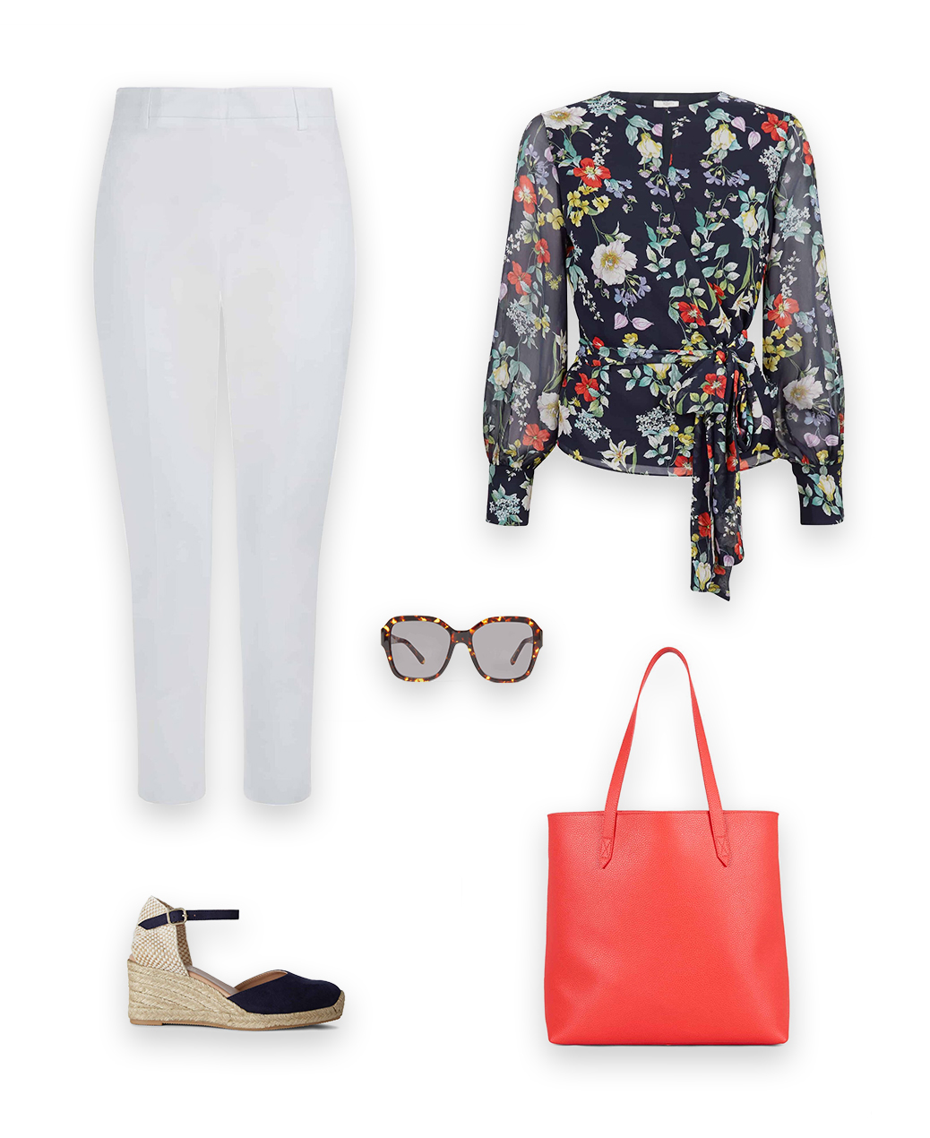 Staycation Look with the meadow blouse, ith white tailored trousers, navy blue leather espadrilles and red leather tote bag and sunglasses.