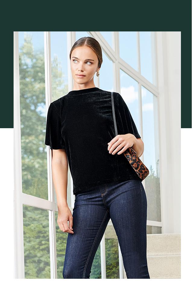 Black Velevt Short Sleeve Top